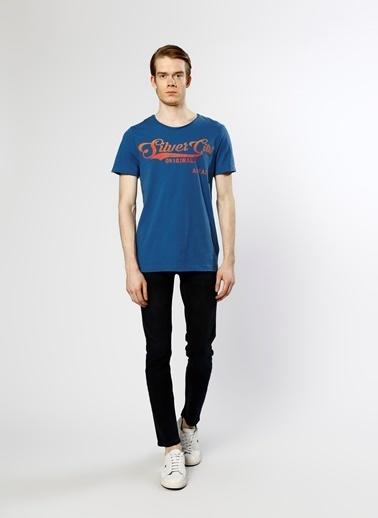 Jack & Jones Jack & Jones Mavi Bisiklet Yaka Baskılı  T-Shirt Mavi